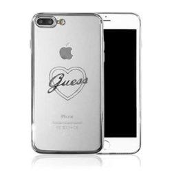 Guess GUHCP7LTRHS iPhone 6/7/8 Plus ezüst / srebrny Hardtelefon tok hátlap tok Signature Szív