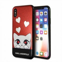 Karl Lagerfeld KLHCPXVDCRE iPhone X kemény tok piros Valentine tok telefon tok hátlap