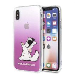 Karl Lagerfeld KLHCPXCFNRCPI iPhone X / X-Hardtelefon tok hátlap tok różowy / rózsaszín Choupette Fun