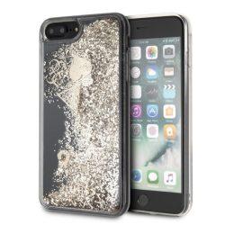 Guess GUHCI8LGLHFLGO iPhone 7/8 Plus arany / złoty kemény tok Glitter szívek tok telefon tok hátlap