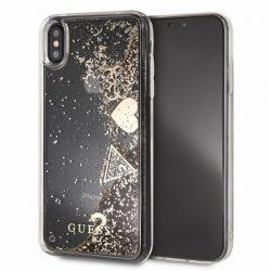 Guess GUHCI65GLHFLGO iPhone Xs Max arany / złoty kemény tok Glitter szívek tok telefon tok hátlap