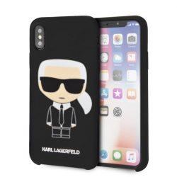 Karl Lagerfeld KLHCPXSLFKBK iPhone X / X - Hardcase fekete Szilikon Ikonikus tok telefon tok hátlap