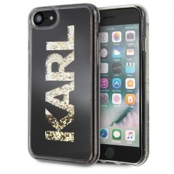 Karl Lagerfeld KLHCI8KAGBK iPhone 7/8 fekete Karl logo Glitter tok telefon tok hátlap
