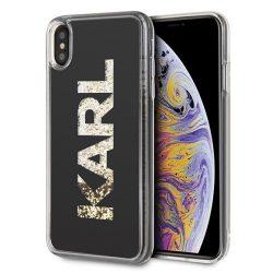 Karl Lagerfeld KLHCI65KAGBK iPhone Xs Max fekete Karl logo Glitter tok telefon tok hátlap