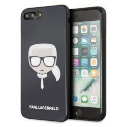 Karl Lagerfeld KLHCI8LDLHBK iPhone 7/8 Plus fekete Ikonikus Glitter Karl's Head tok telefon tok hátlap