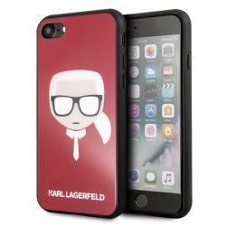 Karl Lagerfeld KLHCI8DLHRE iPhone 7/8 piros / vörös Ikonikus Glitter Karl's Head tok telefon tok hátlap