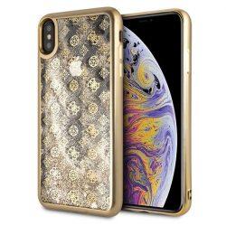Guess GUHCI65PEOLGGO iPhone Xs Max złoty / arany kemény tok 4G bazsarózsa Liquid Glitter tok telefon tok hátlap