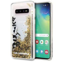Karl Lagerfeld KLHCS10ROGO S10 G973 czarno - złoty / fekete - arany nehéz eset Glitter Samsung Galaxy tok telefon tok hátlap
