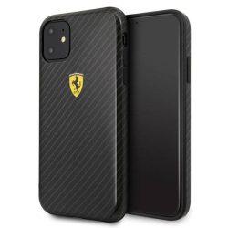 Ferrari Hardtok FESPCHCN61CBBK iPhone 11 fekete / czarny On Track Carbon Effect telefontok hátlap tok
