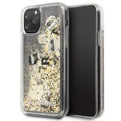 Karl Lagerfeld KLHCN58ROGO iPhone 11 Pro fekete-arany / fekete-arany Glitter Hardcase telefon tok telefontok (hátlap)