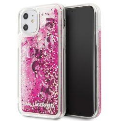 Karl Lagerfeld iPhone KLHCN61ROPI 11 rózsaszín-arany / Rosegold Glitter kemény tok tok telefon tok hátlap