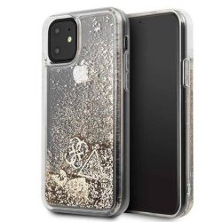 Guess GUHCN61GLHFLGO iPhone 11 arany / złoty kemény tok Glitter szívek telefontok hátlap tok