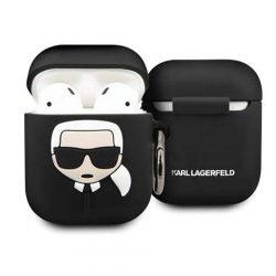 Karl Lagerfeld KLACCSILKHBK AirPods tok czarny / fekete Szilikon Ikonik tok