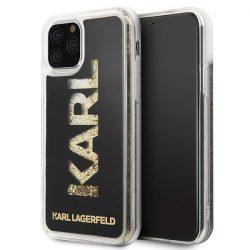 Karl Lagerfeld KLHCN58KAGBK iPhone 11 Pro fekete logo Karl Glitter telefon tok telefontok (hátlap)