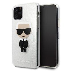 Karl Lagerfeld KLHCN58TPUTRIKSL iPhone 11 Pro ezüst / ezüst csillogás Karl Ikonik tok telefon tok hátlap