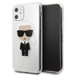 Karl Lagerfeld iPhone KLHCN61TPUTRIKSL 11 ezüst / ezüst csillogás Karl Ikonik tok telefon tok hátlap