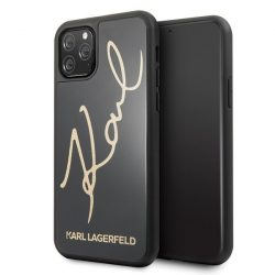Karl Lagerfeld KLHCN58DLKSBK iPhone 11 Pro fekete Hardcase Signature Glitter telefon tok telefontok (hátlap)