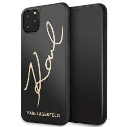 Karl Lagerfeld KLHCN65DLKSBK iPhone Pro Max 11 fekete kemény tok Signature Glitter tok telefon tok hátlap