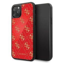Etui Guess GUHCN584GGPRE iPhone 11 Pro piros kemény tok 4G kétrétegű Glitter telefontok