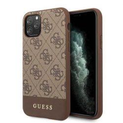 Etui Guess GUHCN65G4GLBR iPhone 11 Pro Max barna kemény tok 4G Stripe Collection telefontok