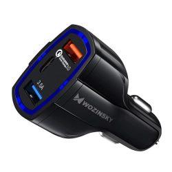 Wozinsky Univerzális autós töltő 2x USB / Type-c Usb C Quick Charge 3.0 QC3.0 fekete (WCC-01)