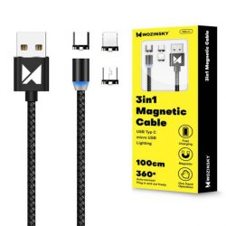 Wozinsky Mágneses kábel USB / micro USB / USB Typ C / Lightning 1m LED-es fekete (WMC-01)