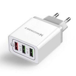 Wozinsky gyors fali töltő adapter Quick Charge QC 3,0 3x USB 30W fehér (WWC-01)