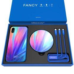 Nillkin Fancy Gift Set - Telefon tok + Qi vezeték nélküli töltő + 3 az 1 - ben kábel (USB - micro USB / Lightning / USB - C) iPhone X kék