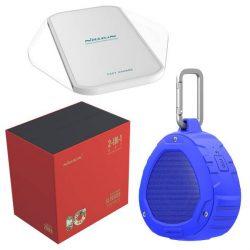 Nillkin Gift Set vezeték nélküli Bluetooth hangszóró + Qi Bűvös kocka vezeték nélküli töltő (gyorstöltő Edition) kék