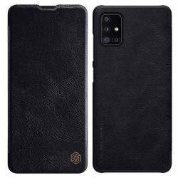 Nillkin Qin eredeti bőr tok Samsung Galaxy A51 5G fekete telefontok