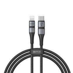 Baseus BMX MPI kábel tartós nylon fonott C típusú USB PD 18W / Lightning 1,2m szürke (CATLSJ-AG1)