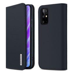 DUX DUCIS Wish valódi bőr Bookcase típusú tok Samsung Galaxy S20 Plus kék telefontok hátlap tok