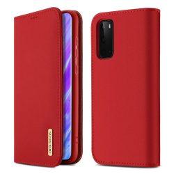 DUX DUCIS Wish valódi bőr Bookcase típusú tok Samsung Galaxy S20 piros telefontok tok