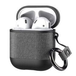 Dux Ducis PU bőrtok Apple AirPods 2 / AirPods 1 fülhallgatók szürke telefontok hátlap tok