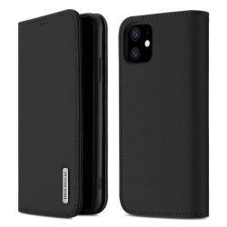 DUX DUCIS Wish valódi bőr Bookcase típusú tok iPhone 11 fekete telefontok tok