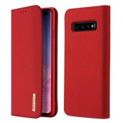 DUX DUCIS Wish valódi bőr Flipes tok telefon tok Samsung Galaxy S10 Plus piros