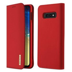 DUX DUCIS Wish valódi bőr Flipes tok telefon tok Samsung Galaxy S10e piros