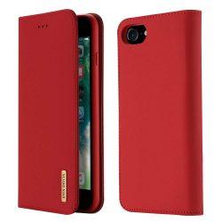 DUX DUCIS Wish valódi bőr Flipes tok telefon tokú tok telefon tok hátlap iPhone 8/7 piros