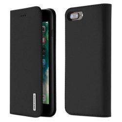 DUX DUCIS Wish valódi bőr Flipes tok telefon tokú telefon tok telefontok iPhone 8 Plus / 7 Plus fekete