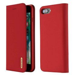 DUX DUCIS Wish valódi bőr Flipes tok telefon tokú tok telefon tok hátlap iPhone 8 Plus / 7 Plus piros