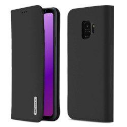 DUX DUCIS Wish valódi bőr Flipes tok telefon tok Samsung Galaxy S9 G960 fekete