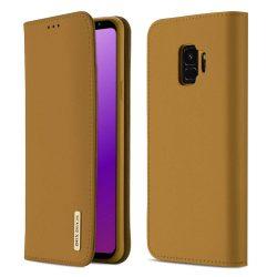 DUX DUCIS Wish valódi bőr Flipes tok telefon tok Samsung Galaxy S9 G960 barna