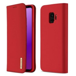 DUX DUCIS Wish valódi bőr Flipes tok telefon tok Samsung Galaxy S9 G960 piros