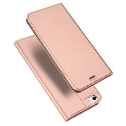 DUX DUCIS Skin Pro Flipes tok telefon tokú tok telefon tok hátlap iPhone SE / 5S / 5 rózsaszín