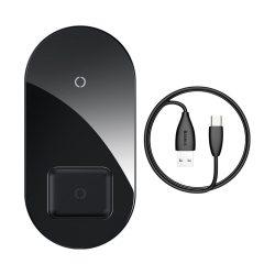 Baseus Simple 2in1 töltő Qi vezeték nélküli töltő az okostelefonok és AirPods 18W fekete (WXJK-01)