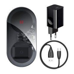 Baseus Egyszerű 24W 2in1 vezeték nélküli töltő Qi töltő okostelefonok és AirPods + fali töltő fekete (TZWXJK-B01)