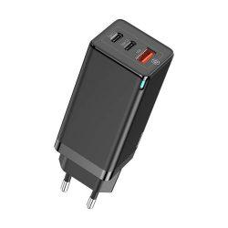 Baseus GaN gyors fali töltő PPS 65W USB / 2x USB Typ C Quick Charge 3.0 Power Delivery SCP FCP AFC (gallium-nitrid) fekete (CCGAN-B01)