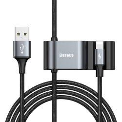 Baseus különleges adatkábel Backseat USB Lightning + 2x USB HUB fekete (CALHZ-01)