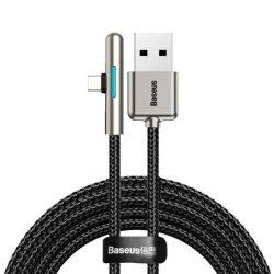 Baseus mobil játék Elbow Cable type-c USB nylon zsinór 4A 40W Huawei Yuper Charge 2 m fekete (CAT7C-C01)