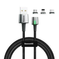 Baseus Cink mágneses USB kábel + csatlakozó készlet Lightning / C típusú USB / micro USB 2A 2 m fekete (TZCAXC-B01)